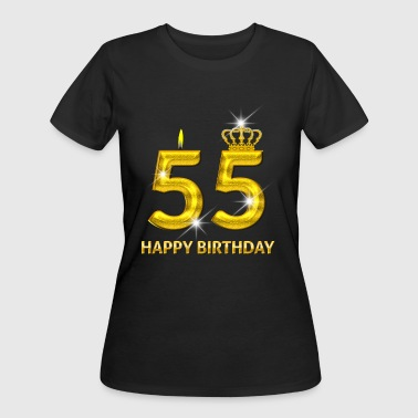 55 - Happy Birthday - Golden Number - Women's 50/50 T-Shirt