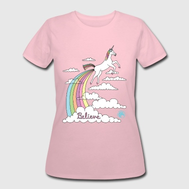 Unicorn Farting Rainbow In Clouds Believe - Women's 50/50 T-Shirt