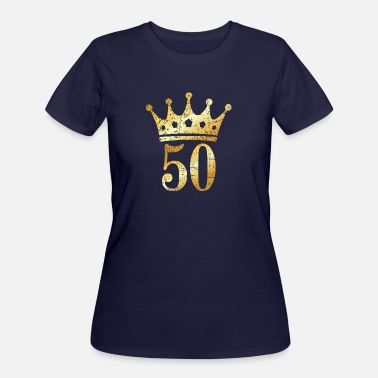 Gold 50th Birthday & Anniversary Crown (Vintage Gold) - Women's 50/50 T-Shirt