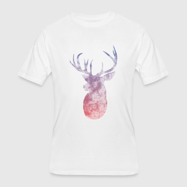 Deer Head Vintage Halftone Ombre - Men's 50/50 T-Shirt