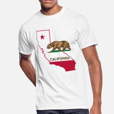 California State Bear CALIFORNIA LOVE BEAR AND STATE - Men's 50/50 T-Shirt