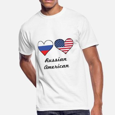 Russian Girls Russian American Flag Hearts - Men's 50/50 T-Shirt