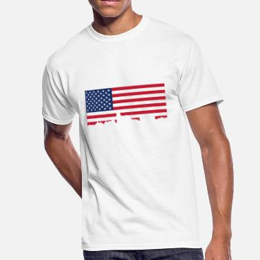 Allentown Pa Allentown Pennsylvania Skyline American Flag - Men's 50/50 T-Shirt