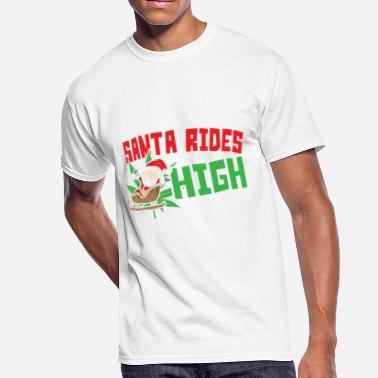 ed190bbf6 Christmas Marijuana Santa Rides High Funny Marijuana Cannabis - Men's  50/