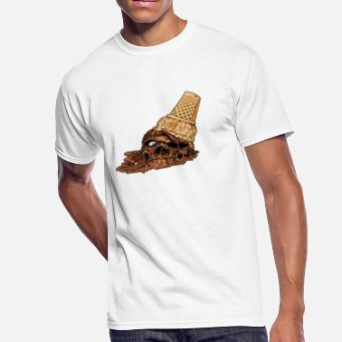 Gnarly Skate Chocolate Death Cone - Ice Cream Skull - Men's 50/50 T-Shirt