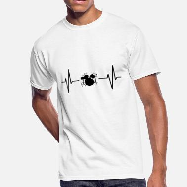Music Note Ekg My heart beats for drums! gift - Men's 50/50 T-Shirt