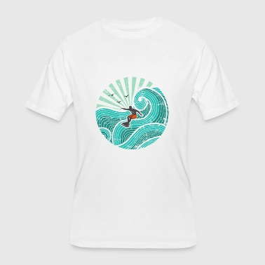 Surfer Sea Wave Surfer in waves (turquoise) - Men's 50/50 T-Shirt