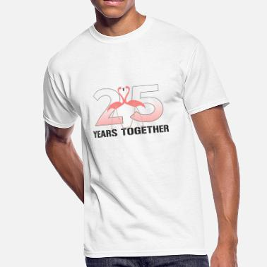 25th Wedding Anniversary Wedding Anniversary Gift 25th Flamingo Lover Couple Shirt - Men's 50/50 T-Shirt