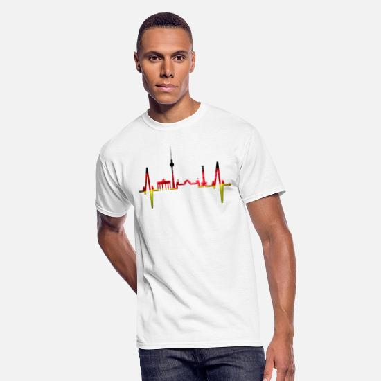 German T-Shirts - Berlin Heartbeat Skyline German Flag Fan Lover - Men's 50/50 T-Shirt white