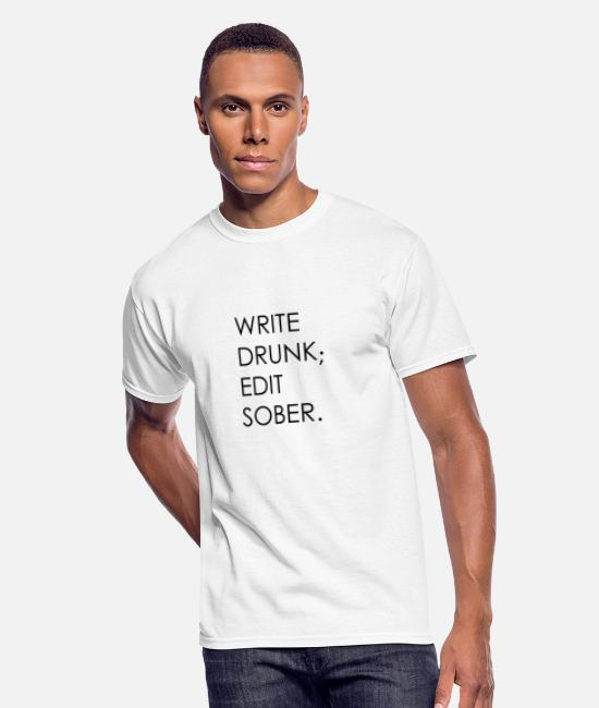 Quote T-Shirts - Write Drunk; Edit Sober - black text - Men's 50/50 T-Shirt white