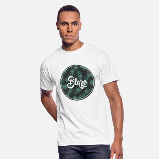 Marijuana T-Shirts - Blaze Weed Graphic - Men's 50/50 T-Shirt white