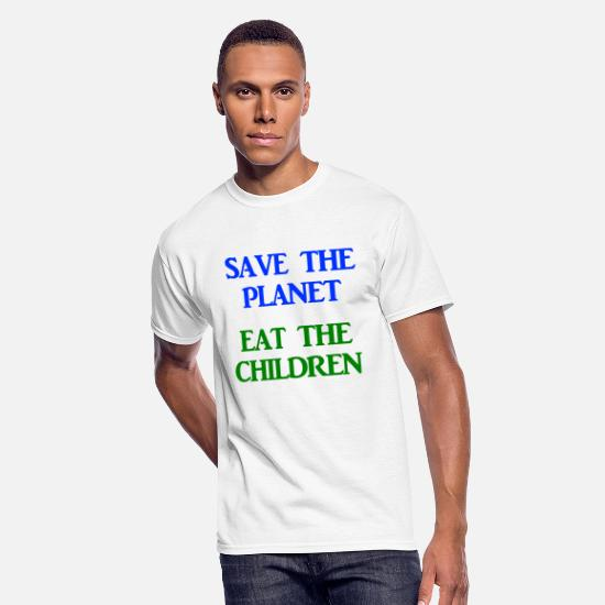 To T-Shirts - Save The Planet Eat The Children AOC Climate - Men's 50/50 T-Shirt white