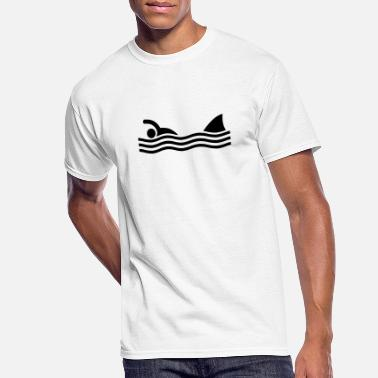 Humour swimmer with shark - Men's 50/50 T-Shirt
