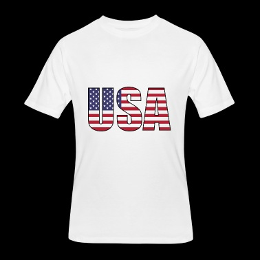USA United States of America letters with flag art - Men's 50/50 T-Shirt