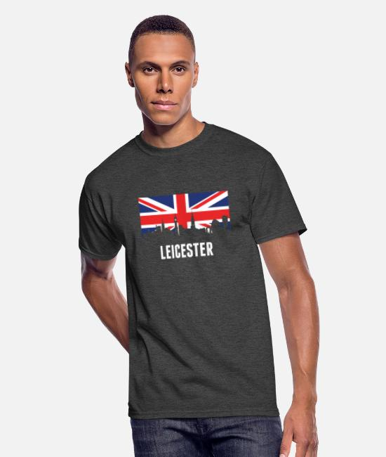 British T-Shirts - British Flag Leicester Skyline - Men's 50/50 T-Shirt heather black