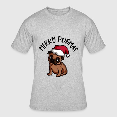 Merry Pugmas Dog with Christmas Hat - Men's 50/50 T-Shirt