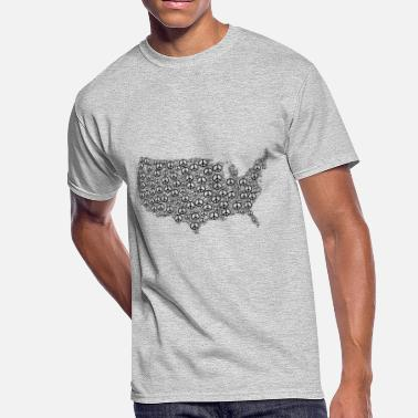 Disarmament us map made up using the symbol of peace tshirt - Men's 50/50 T-Shirt