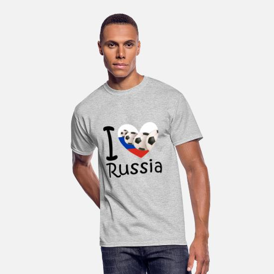 Love T-Shirts - I love Russia and soccer - Men's 50/50 T-Shirt heather gray