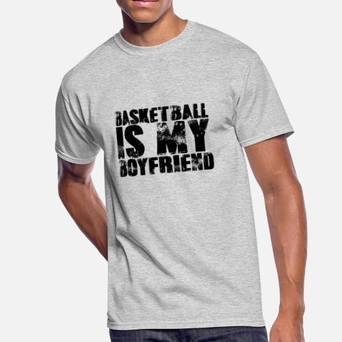 Basketball Is My Boyfriend Her Sports Relationship Men's 50/50 T-Shirt -  white