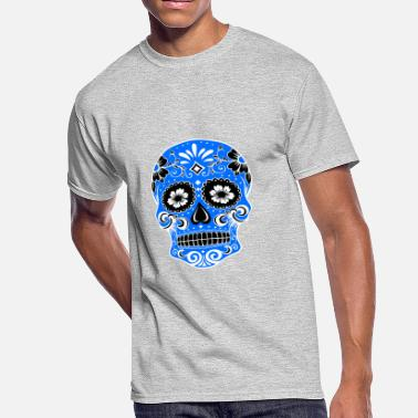 Red White And Blue Skulls Decorative skull, white, light blue - Men's 50/50 T-Shirt