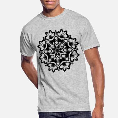 Ornamental Floral Flourish Silhouette Design - Men's 50/50 T-Shirt