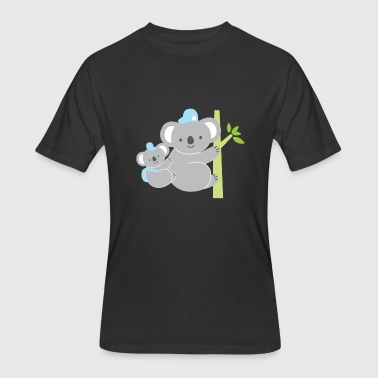 Cute koala mom with baby and hat bamboo - Men's 50/50 T-Shirt