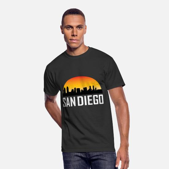 Diego T-Shirts - Sunset Skyline Silhouette of San Diego CA - Men's 50/50 T-Shirt black
