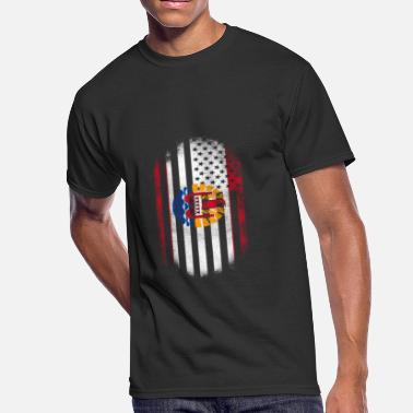 Polynesian Design French Polynesian American Flag Polynesia and USA Design - Men's 50/50 T-Shirt