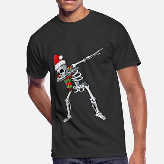 596abe5e Dabbing Skeleton Santa T shirt Christmas Kids Men's 50/50 T-Shirt ...