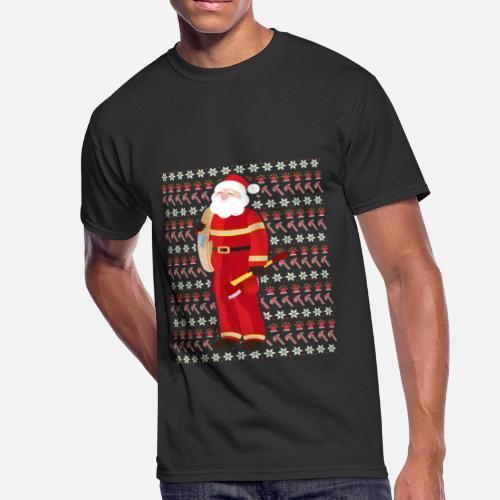 7b54d66d22a9a Cute Firefighter Ugly Christmas Xmas Fireman Men s 50 50 T-Shirt ...