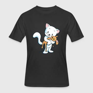Soft Toy Cat with toy - Men's 50/50 T-Shirt