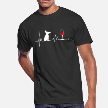 Coffee And Wine Heartbeat EKG Pulse Chihuahua and Wine Lover - Men's 50/50 T-Shirt