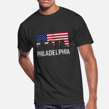 Pennsylvania American Flag Philadelphia Pennsylvania Skyline American Flag - Men's 50/50 T-Shirt