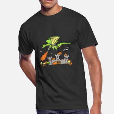 Flamethrower Dragon With A Flamethrower funny Cute Cartoon - Men's 50/50 T-Shirt