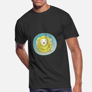 Alpha Beast Lion Face White Badge - Men's 50/50 T-Shirt