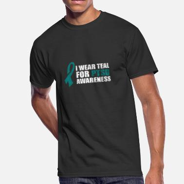 Mental Health Awareness Month PTSD Awareness Military Support Teal Ribbon1 - Men's 50/50 T-Shirt