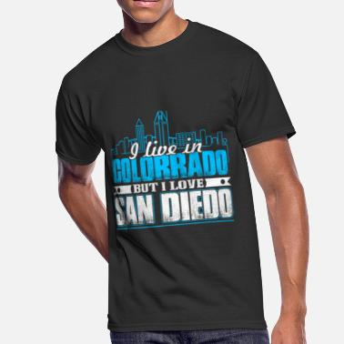 Lobe I LIVE IN COLORADO BUT I LOVE SAN DIEGO SHIRT - Men's 50/50 T-Shirt