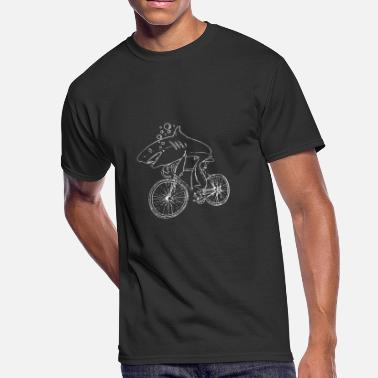 Shark Bicycle Shark Riding Bicycle Bike Funny - Men's 50/50 T-Shirt