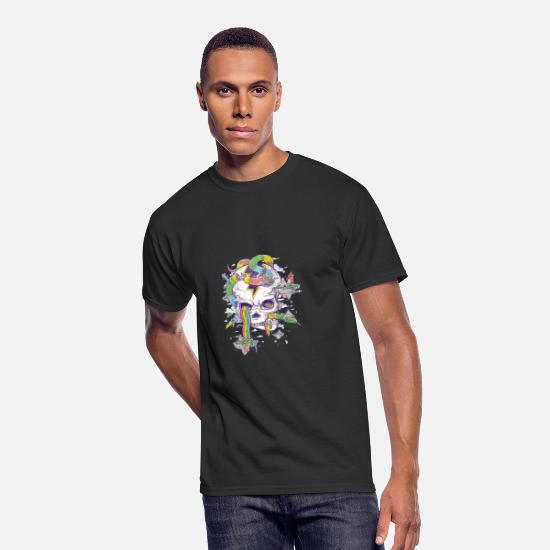 Rainbow Flag T-Shirts - Flying Rainbow skull Island - Men's 50/50 T-Shirt black