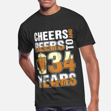 34 Year Anniversary Cheers And Beers To 34 Years - Men's 50/50 T-Shirt