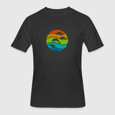 Red Dolphin dolphin art - Men's 50/50 T-Shirt