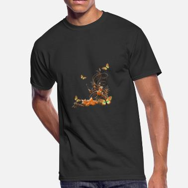 Abstract Drawing Cartoon Plant butterfly insect vector drawing abstract fun - Men's 50/50 T-Shirt