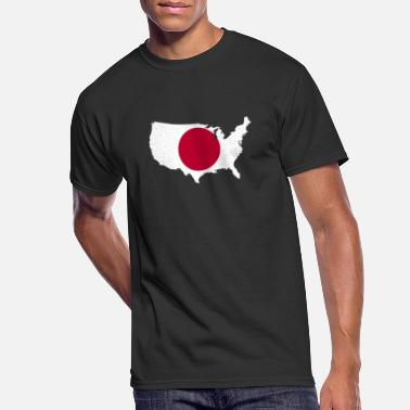 USA Map with Japan Flag Japanese American Pride - Men's 50/50 T-Shirt