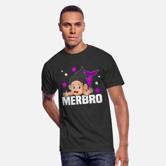 Big T-Shirts - Merbro T Shirt Big Brother Of A Mermaid Birthday - Men's 50/50 T-Shirt black
