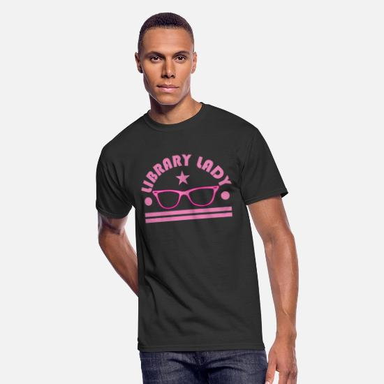 "Library T-Shirts - Pink and funky tee design for ""library Lady"" Like - Men's 50/50 T-Shirt black"