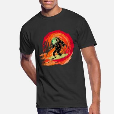 Motif Surfboard Astronaut on surfboard rides on a wave - Men's 50/50 T-Shirt