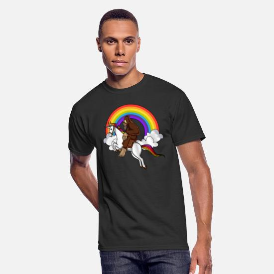 Forest T-Shirts - Bigfoot Riding Unicorn Magical Rainbow Fantasy - Men's 50/50 T-Shirt black
