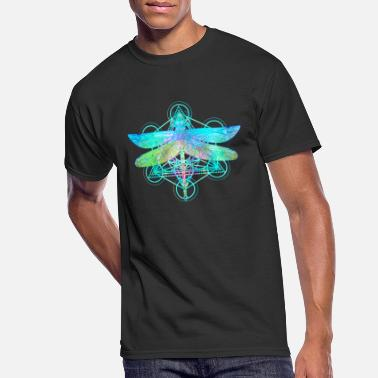 Geometry Ornate dragonfly over colorful round sacred - Men's 50/50 T-Shirt