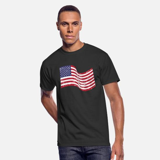 Distressed T-Shirts - American Flag Distressed - Men's 50/50 T-Shirt black