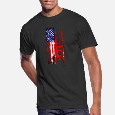 Rifle American Flag Gun Weapon Bullets Rifle Pistol Gift - Men's 50/50 T-Shirt
